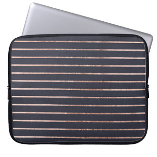 Elegant Chic Rose Gold Stripes and Navy Blue Laptop Sleeve