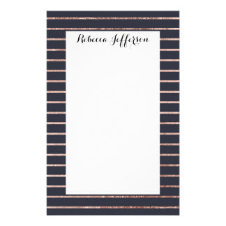 Elegant Chic Rose Gold Stripes and Navy Blue Stationery