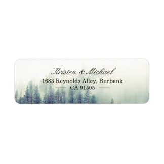 Elegant Chic Seasonal Pine Trees Forest Return Address Label