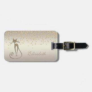Elegant Chic - Shiny Foil Confetty-Diamond,Cat Luggage Tag