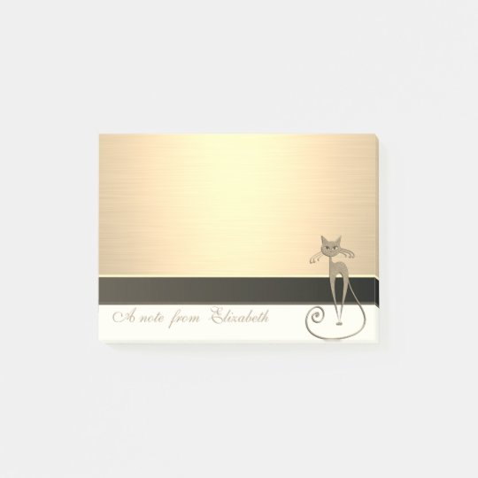 Elegant Chic  Stylish Girly ,Faux Gold, Cat Post-it Notes