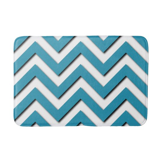 Elegant Chic Teal Turquoise Zigzag Chevron Pattern Bathroom Mat