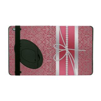 Elegant chic trendy silver effects damask pattern iPad folio case