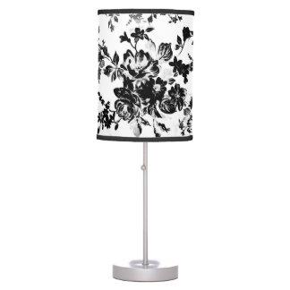 Elegant chic vintage black  white floral pattern table lamp