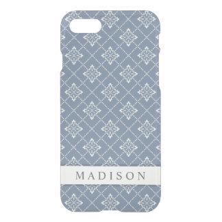 Elegant Chic Vintage Blue Gray Floral Uncommon iPhone 8/7 Case