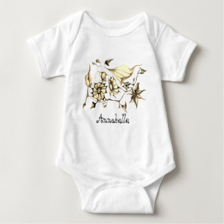 Elegant Chic Whimsical Exotic Flowers Sepia-Custom Baby Bodysuit