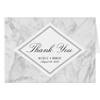 Elegant Chic White Grey Marble Thank You Note Card