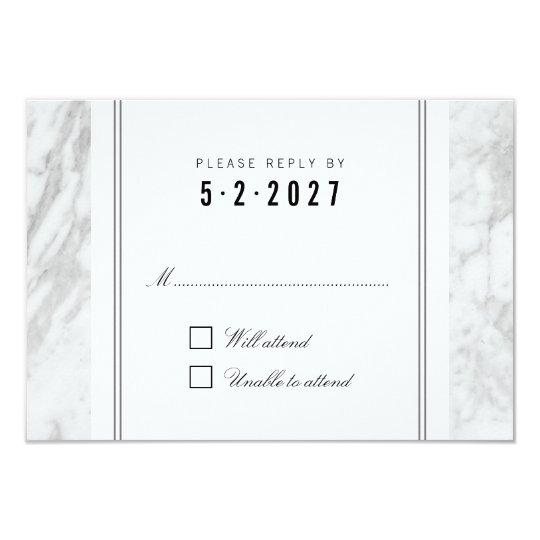 Elegant Chic White Grey Marble Wedding RSVP Card