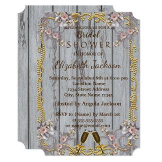 Elegant Chic Wood Texture  Bridal Shower Card