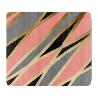 elegant chick abstract gold black grey coral pink cutting board
