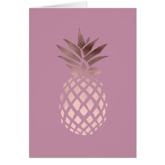 elegant chick clear rose gold tropical pineapple card