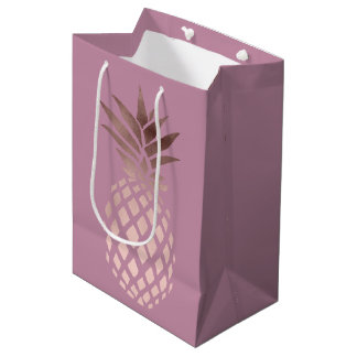 elegant chick clear rose gold tropical pineapple medium gift bag