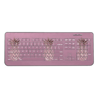 elegant chick clear rose gold tropical pineapple wireless keyboard