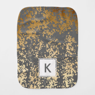 elegant chick faux gold and grey brushstrokes burp cloth