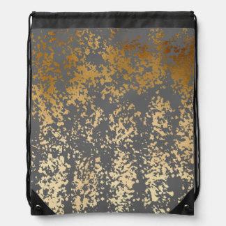 elegant chick faux gold and grey brushstrokes drawstring bag