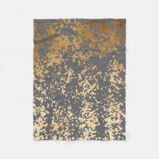 elegant chick faux gold and grey brushstrokes fleece blanket