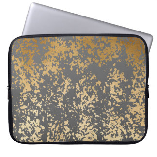 elegant chick faux gold and grey brushstrokes laptop sleeve