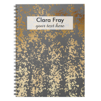 elegant chick faux gold and grey brushstrokes notebook