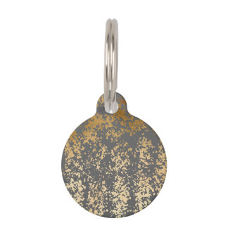 elegant chick faux gold and grey brushstrokes pet ID tag