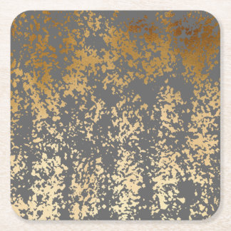 elegant chick faux gold and grey brushstrokes square paper coaster