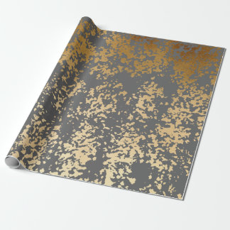elegant chick faux gold and grey brushstrokes wrapping paper