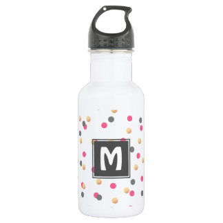 elegant chick faux gold grey pink confetti dots 532 ml water bottle