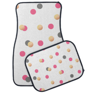 elegant chick faux gold grey pink confetti dots car mat
