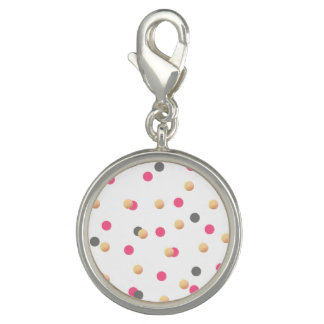 elegant chick faux gold grey pink confetti dots charm