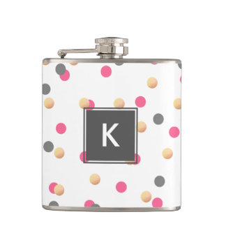 elegant chick faux gold grey pink confetti dots hip flask