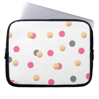 elegant chick faux gold grey pink confetti dots laptop sleeve