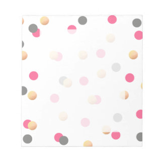 elegant chick faux gold grey pink confetti dots notepad