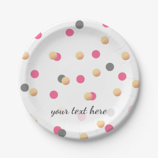 elegant chick faux gold grey pink confetti dots paper plate
