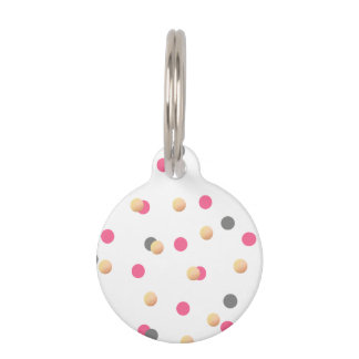 elegant chick faux gold grey pink confetti dots pet tag