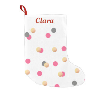 elegant chick faux gold grey pink confetti dots small christmas stocking