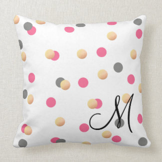 elegant chick faux gold grey pink confetti dots throw pillow