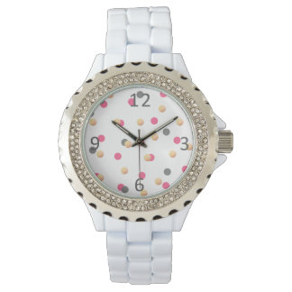 elegant chick faux gold grey pink confetti dots watch