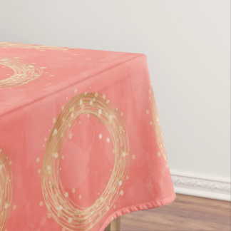 elegant chick faux gold wreath pink brushstrokes tablecloth