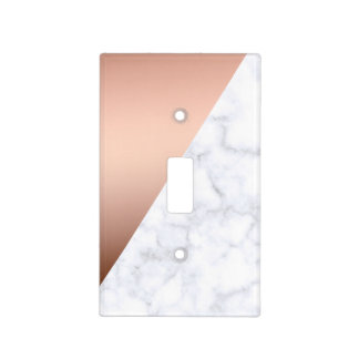 elegant chick geometric white marble rose gold light switch cover