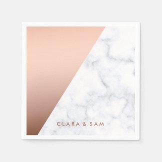 elegant chick geometric white marble rose gold paper napkin