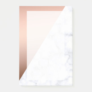 elegant chick geometric white marble rose gold post-it notes