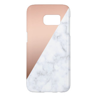 elegant chick geometric white marble rose gold samsung galaxy s7 case