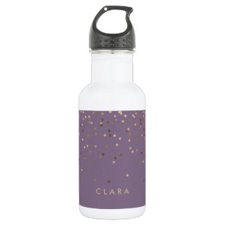 elegant chick glam rose gold confetti dots violet 532 ml water bottle