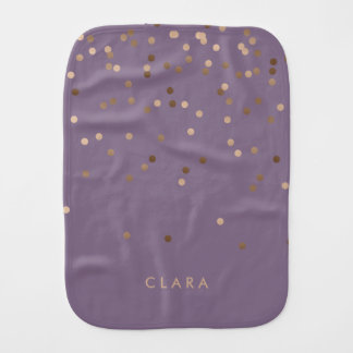 elegant chick glam rose gold confetti dots violet burp cloth