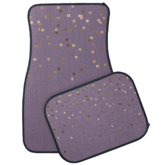 elegant chick glam rose gold confetti dots violet car mat