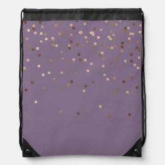 elegant chick glam rose gold confetti dots violet drawstring bag