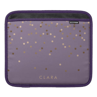 elegant chick glam rose gold confetti dots violet iPad sleeve
