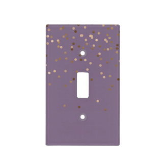 elegant chick glam rose gold confetti dots violet light switch cover