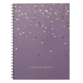 elegant chick glam rose gold confetti dots violet notebook