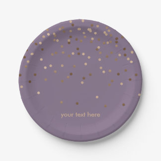 elegant chick glam rose gold confetti dots violet paper plate