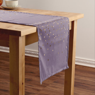 elegant chick glam rose gold confetti dots violet short table runner